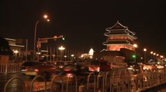 Traffic of car bus and people from blazing lanterns streets of Night Beijing. Stock Footage