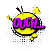 Comic sound effects pop art sound bubble speech with word Lettering Ouch Stock Illustration