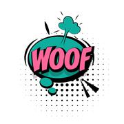 Comic sound effects pop art sound bubble speech with word Lettering Woof Stock Illustration