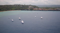 Aerial Santo Domingo seaside with boats, Dominican Republic Stock Footage