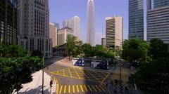IFC TOWER ROAD CROSSINGS TRAMS TRAFFIC HONG KONG Stock Footage