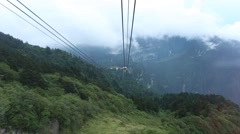 Going down from the top of Emei Mountain in Sichuan,China,shot from the cableway Stock Footage