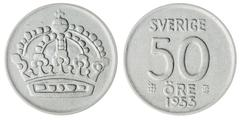 50 ore 1955 coin isolated on white background, Sweden Stock Photos