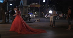 Newly-weds making photo on the road. Hanoi, Vietnam Stock Footage
