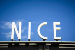 City of Nice sign on French Riviera Stock Photos