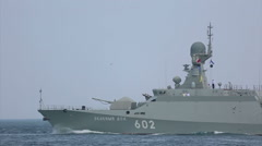 Modern small missile boats Russia with missiles Caliber Stock Footage