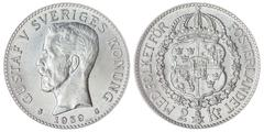 2 krone 1939 coin isolated on white background, Sweden Stock Photos