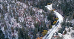 Truck driving on snowy mountain road, Santa Fe, New Mexico, United States Stock Footage