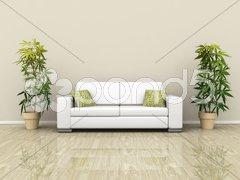 Sofa with plants Stock Photos