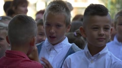 Boys Talking on a Holiday Day First Day of School Stock Footage