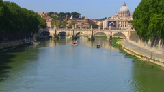 Ponte Sant'angelo And Dome Of St. Peter's Basilica Stock Footage