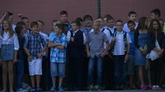 Students of the First, Second and Third Classes Celebrate the Day of Knowledge Stock Footage