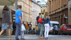 Street musician playing the accordion on the main street of Lviv Stock Footage