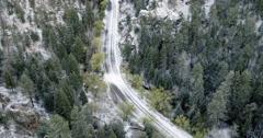 Snow on mountain road, Santa Fe, New Mexico, United States Stock Footage