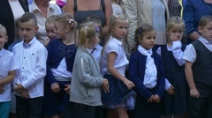 The First Day at School. Children and Parents Stock Footage