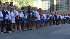 Pupils of Elementary Grades Stand on the Big Area of School No2 Stock Footage