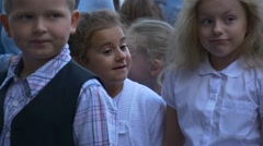 Group of Pupils of Initial Classes Visited City Square Stock Footage