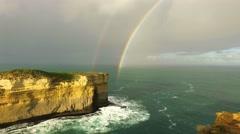Horizontal Pan across the rainbow on Great Ocean Road coastline, Australia Stock Footage