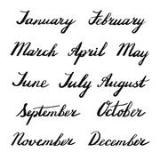 Handwritten months of the year Stock Illustration