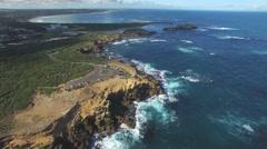 Beautiful cinematic flight over the Thunder Point. Warrnambool, Australia Stock Footage