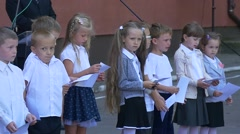 First Day of School. Children of First-Graders .in the School Before Classes Stock Footage