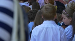 Many Children go to School For the First Time. With Their Parents. the First Stock Footage