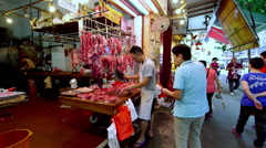 BUTCHER CHOPS MEAT FOR NORTH POINT HONG KONG CHINA Stock Footage
