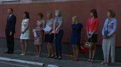 Deputy Director of School Stands Near to School Teachers Stock Footage