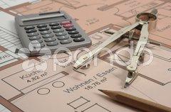 Architektur Hausbau Plan Bauplan Stock Photos