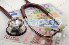 Stethoskop Euro Gebühr Kosten Medizin Arzt Stock Photos