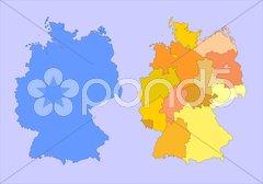 Deutschland BRD Karte mit Bundesländer Stock Photos