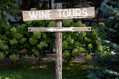 Wooden wine tour sign with arrow with green shrubs Stock Photos