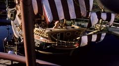 Disneyland Chicken of the Sea Pirate Ship Restaurant 1950s Stock Footage