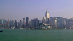 PILOT TUG EXPO CENTRE PLAZA CENTRAL HONG KONG Stock Footage