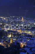 Stadt Garmisch-Partenkirchen Bayern Winter nachts Stock Photos