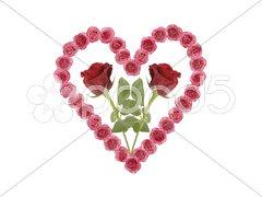Herz und Blumen mit Rosen Stock Photos