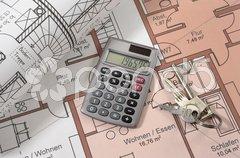 Hausbau Architektur Bauplan bauen Stock Photos