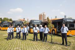 Public transportation new busses drivers Stock Photos