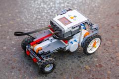 Toy robot from plastic blocks car Stock Photos
