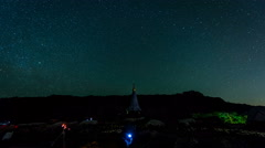Time lapse - star, startrails,pagoda of Doi Inthanon Chiangmai Thailand at night Stock Footage