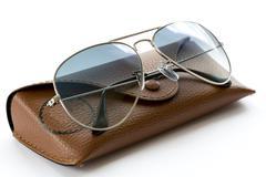 Blue aviator sunglasses with case Stock Photos