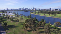 Aerial of beautiful Melbourne cityscape Stock Footage