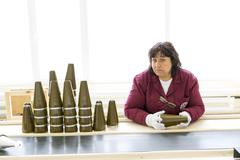 Weapon arms arsenal production Warheads Stock Photos