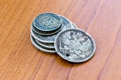 Old expired coins. USSR coins and silver coins Stock Photos