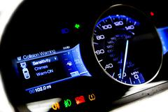 Dashboard and digital display - mileage, fuel consumption, speedometer MPH Stock Photos