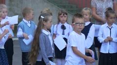 Children of First-Graders go to School Schoolyard Stock Footage