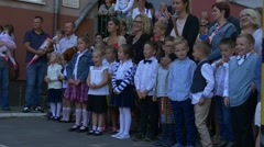 Pupils of the First Classes Stand on a Plaza Stock Footage