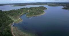 Devilbend Reservoir, Mornington Peninsula - flight over lake Stock Footage