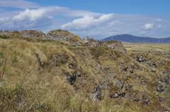 Panorama of the ruins of the Armenian medieval fortress Lori Berd near Stepan Stock Photos