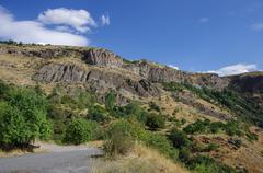 Cliff in river Arpa gorge. Road to Jermuk. Armenia Stock Photos